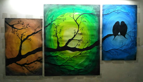 Made this today... 3 colours depicting 3 seasons. First try on split canvas.