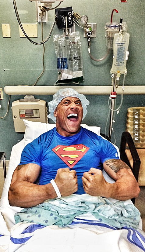 The Rock after undergoing emergency hernial surgery