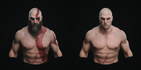 What Kratos Would Look Like Without His Beard And Tattoo 9gag