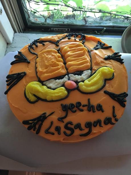 Super Garfield Birthday Cake 9Gag Personalised Birthday Cards Veneteletsinfo