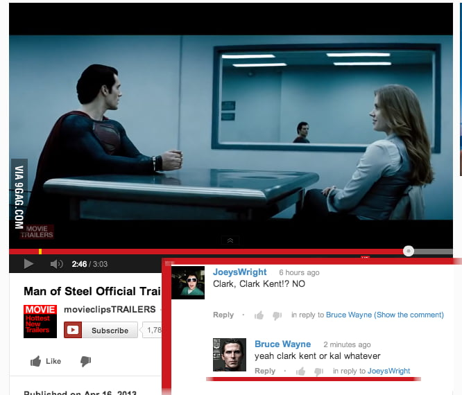 Meanwhile, on the Youtube Man of Steel trailer...