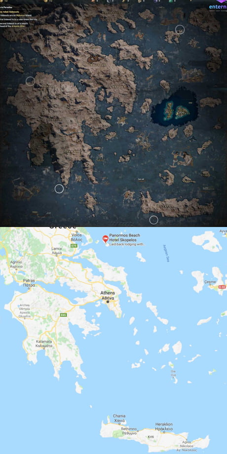AC Odyssey map compared to real world - 9GAG