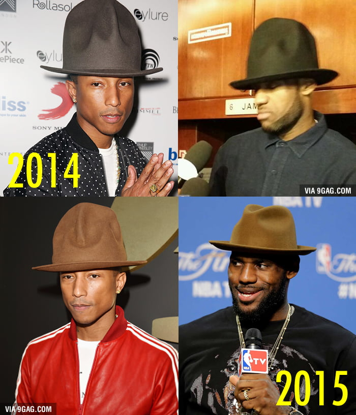 78ad6f6b074 Obviously LeBron James is a big fan of Pharrell s hat! - 9GAG