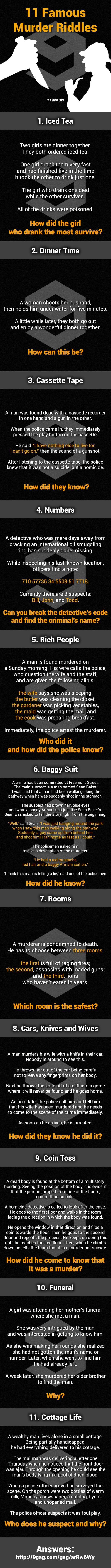 11 Murder Mystery Riddles  Can You Solve Them All? - 9GAG
