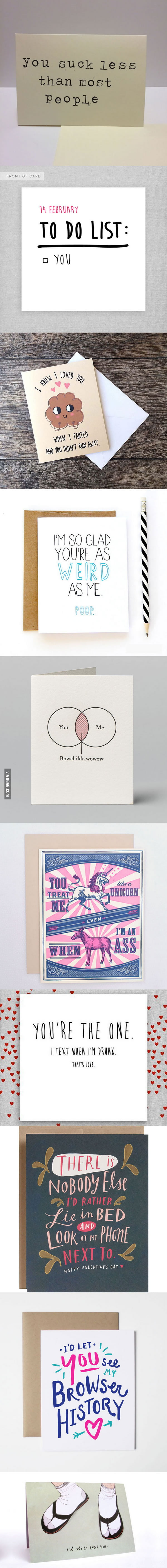 Unconventional Valentine cards
