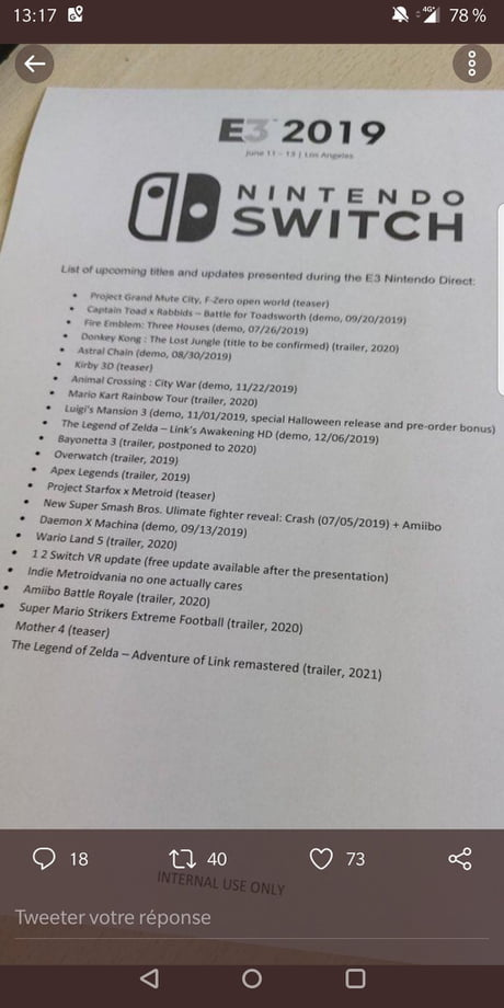 Potenticelle leak of the Nintendo conference (fake or real