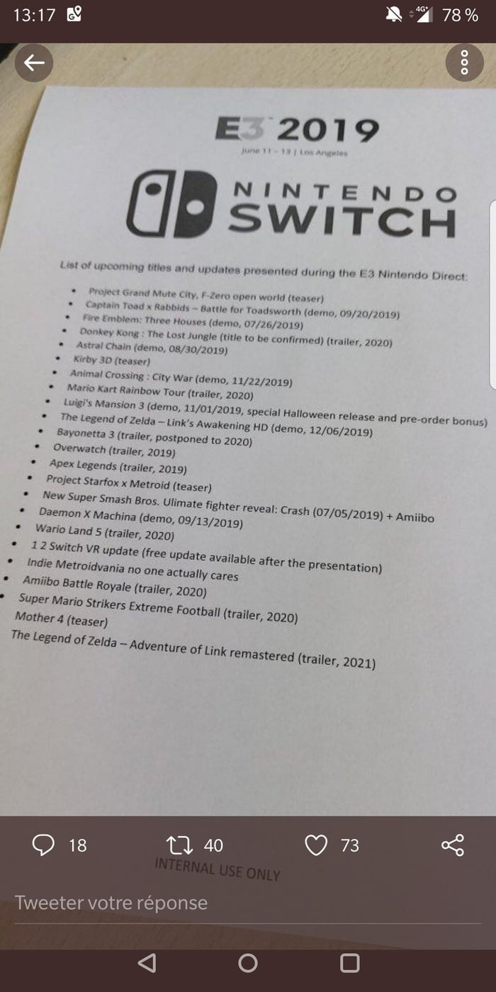 Potenticelle leak of the Nintendo conference (fake or real or you