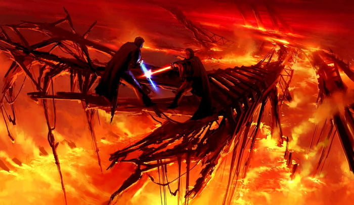 Mustafar Duel Concept Art From Revenge Of The Sith By Ryan Church 9gag