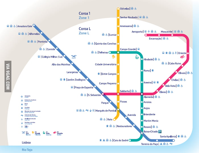 Subway Map Of Lisbon.Saw The Post About Complicated Subway Maps Here S The Map From