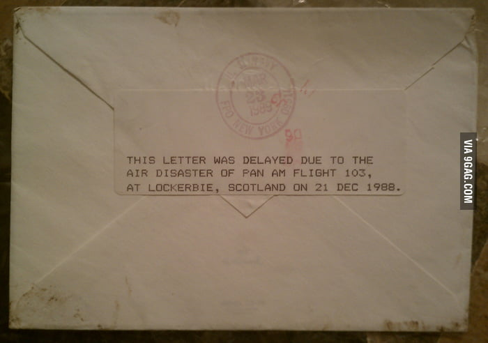 f77ee5a678 Christmas card that was on Pan Am Flight 103, 27 years ago today. They  received it 3 months later.