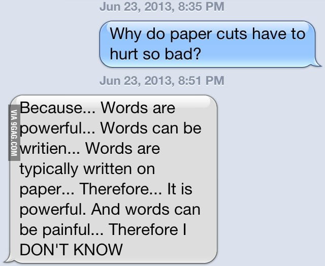 Friends response to paper cuts