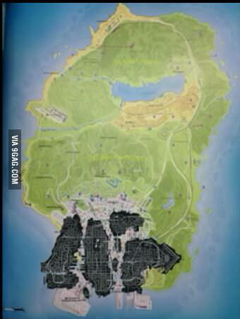 The map of GTA V. The dark part is the size of GTA IV. - 9GAG