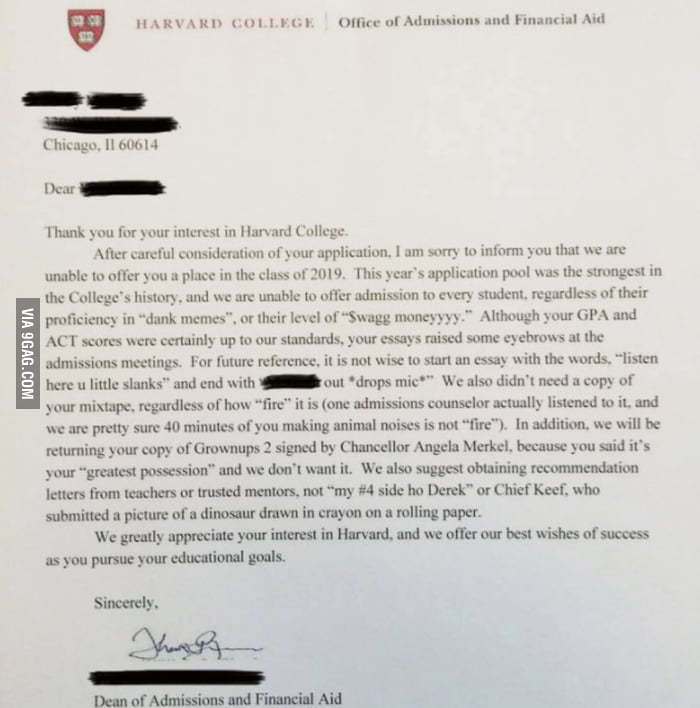 Harvard Rejection Letter To A Troll - 9Gag