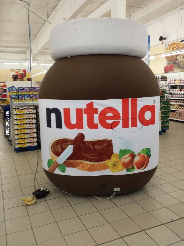 big nutella jar in a german supermarket bananas for scale 9gag
