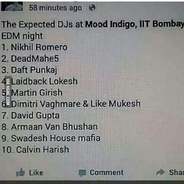 hahahah indian names for popular djs 9gag