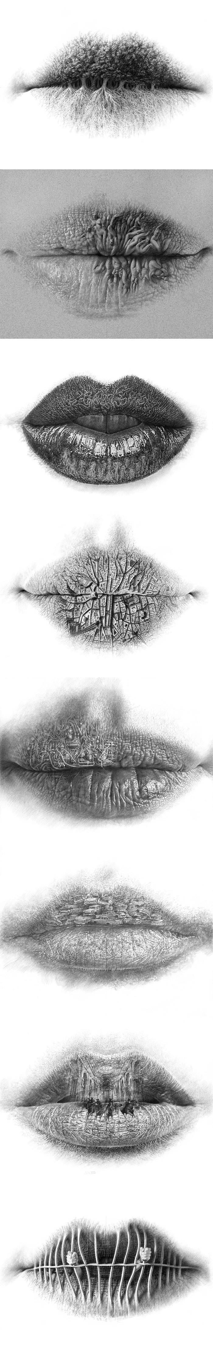 Finding life on her lips... Drawings by Christo Dagorov - 9GAG 11ad688da3