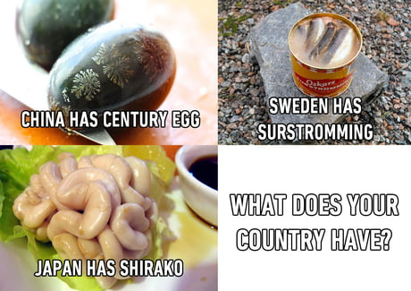 I see your Surströmming and raise you a.... Hákarl