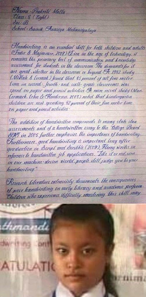 The Handwriting Of Prakriti Malla Class VIII Student From Nepal Has Been Recognised