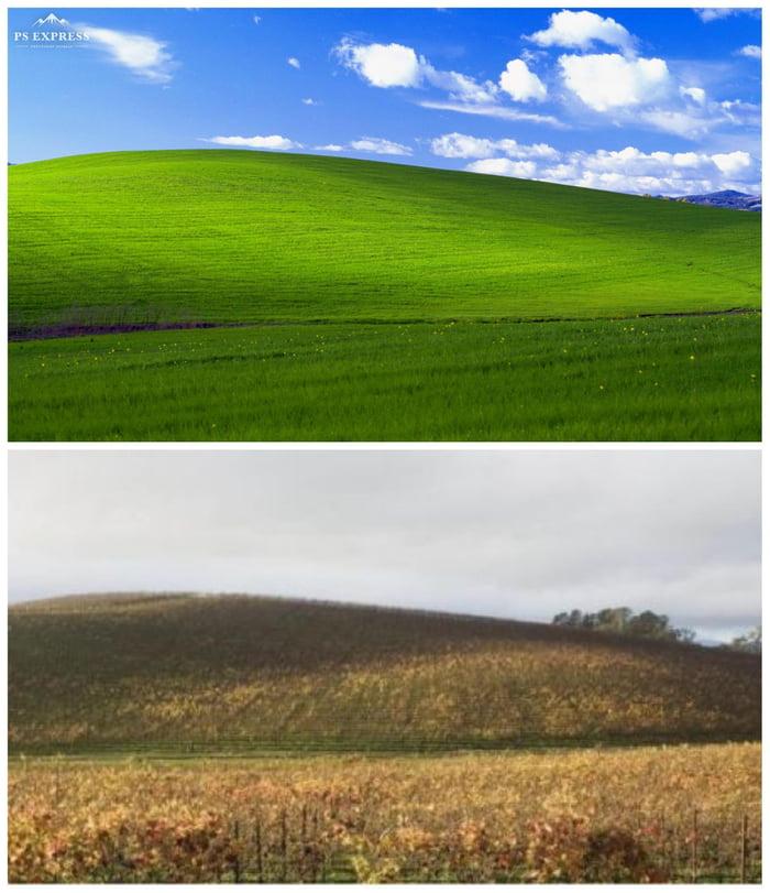 Windows XP wallpaper 'Bliss' - Then vs now - 9GAG