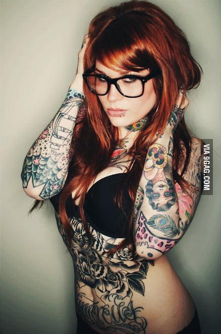Sexy redhead tattoo
