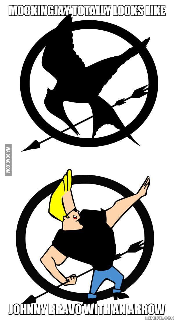 Mockingjay totally looks like Johnny Bravo with an arrow - 9GAG