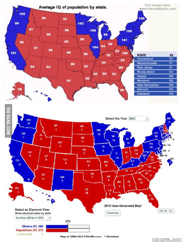 Average IQ vs Electoral Map - 9GAG