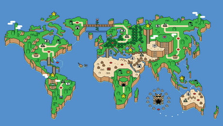 Super Mario World map of the Earth 1920 × 1080 - 9GAG