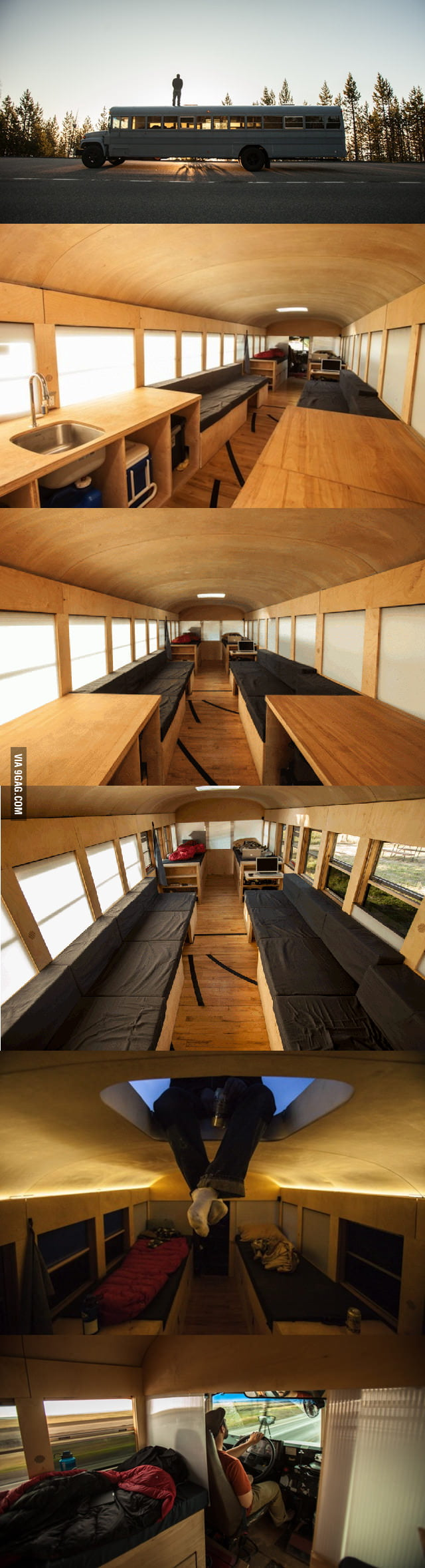 Architecture student converts school bus into cabin: Album (Story in comments)