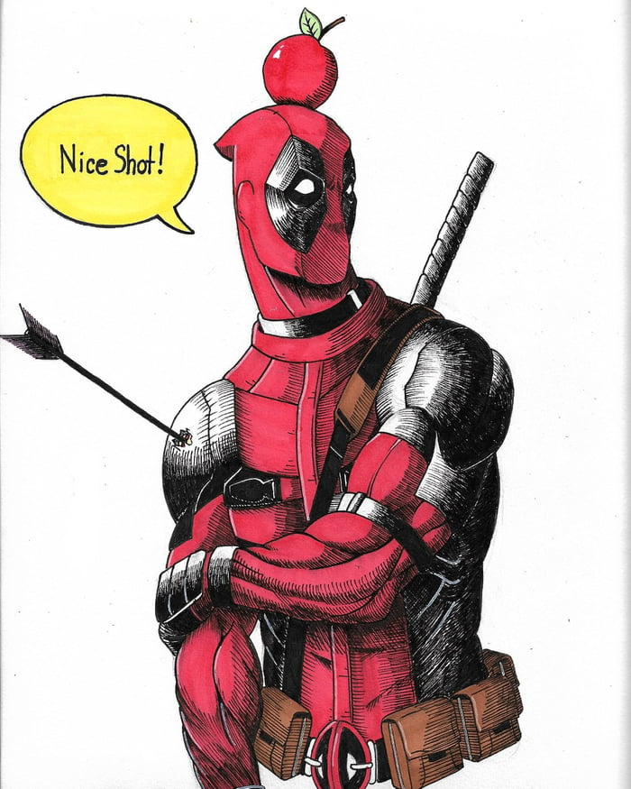 Deadpool drawing I did with pro markers and microns - 9GAGDeadpool Sketch