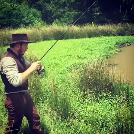 Just Chris Pratt catching a fish.