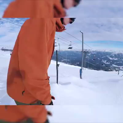 Did the cam-man ski after him?