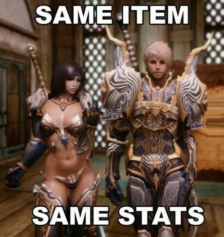 The difference between female and male gender in mmorpg