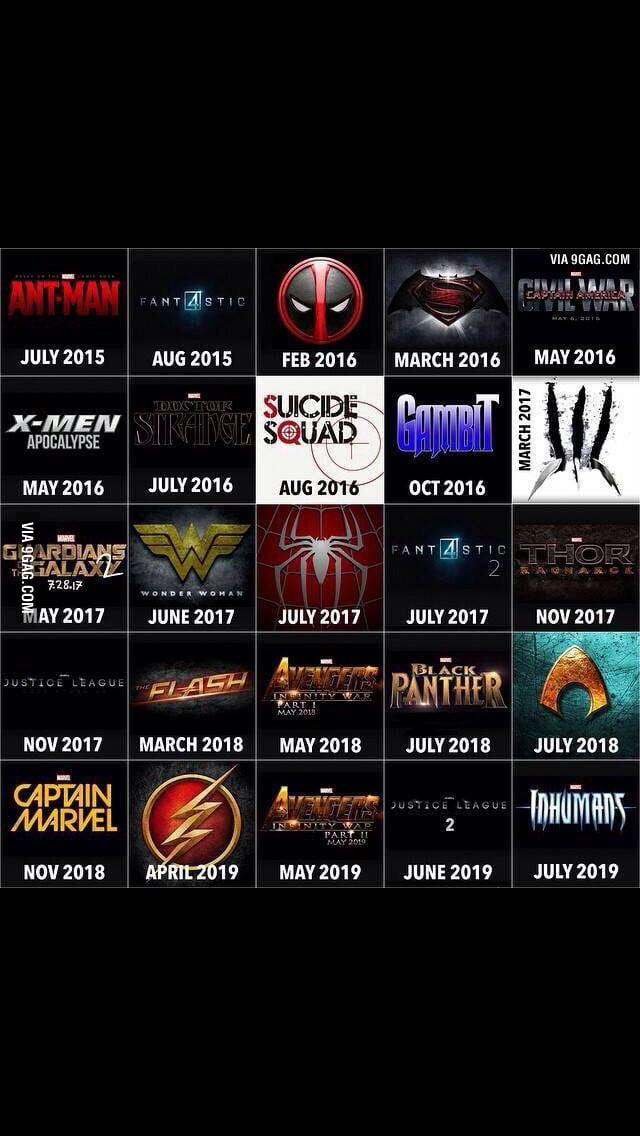 The marvel and fx movies that are coming out in the next 4