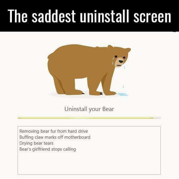 Tunnel Bear VPN uninstall screen - 9GAG