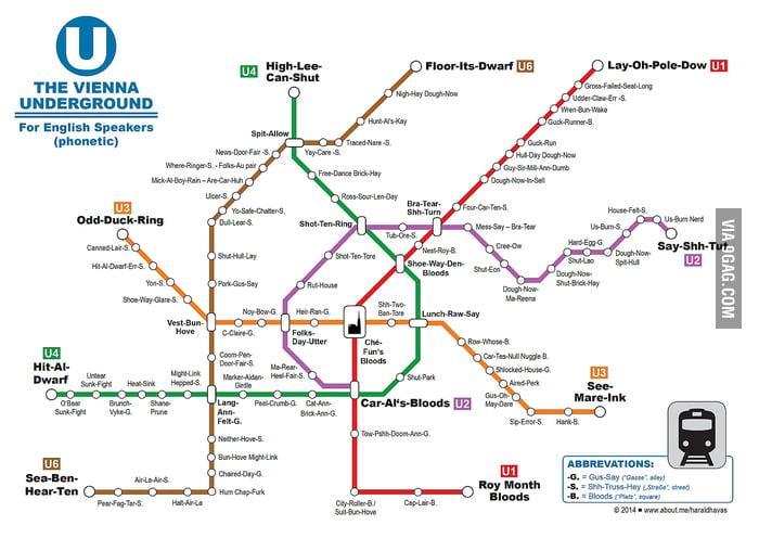Vienna Subway Map.English Phonetic Subway Map Of Vienna Austria 9gag