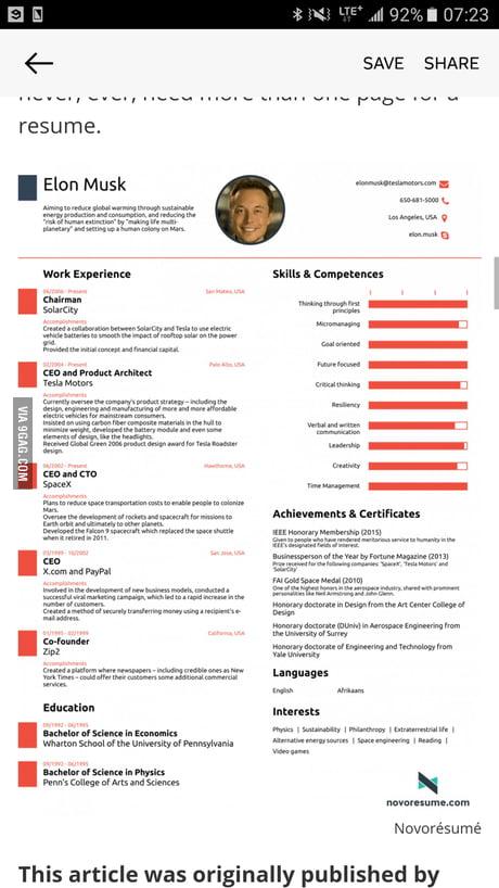 Elon Musk Resume - 9GAG