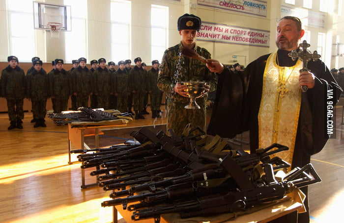 In Russia, God bless the guns