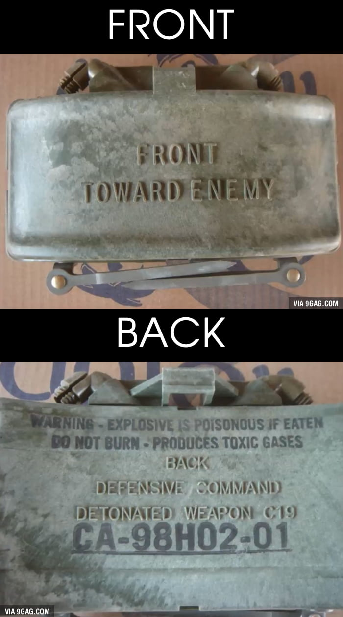 What's Written On The Back Of A Claymore Might Surprise You - 9GAG