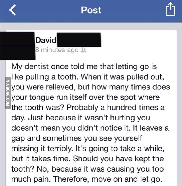 Getting hurt in a relationship is like a tooth ached