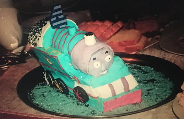 Thomas the tank engine cake i made for my little cousin when