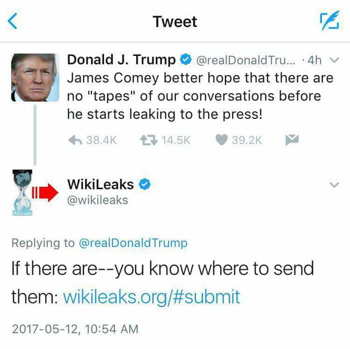Trump just threatened ex FBI head on Twitter and Wikileaks
