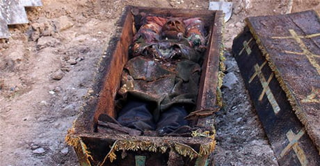 Skeleton of 'Russian general' found inside unearthed coffin in Turkey's Ardahan.