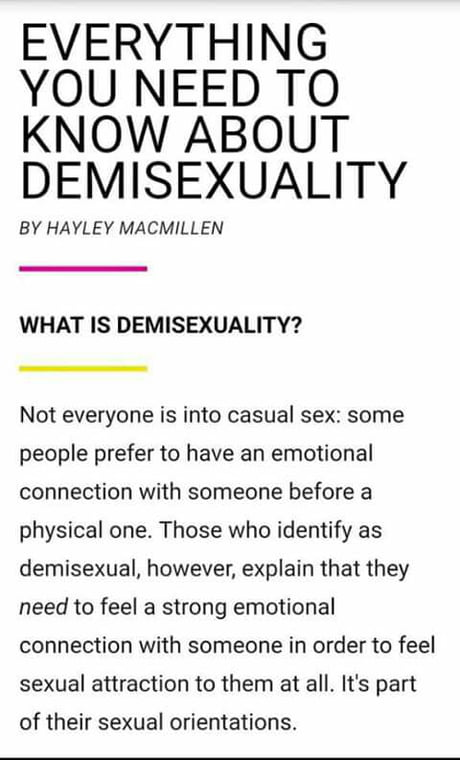"""Demisexual. This *has* to be the most stupid millennial way of describing an ancient concept called """"love"""". also,Hans..."""
