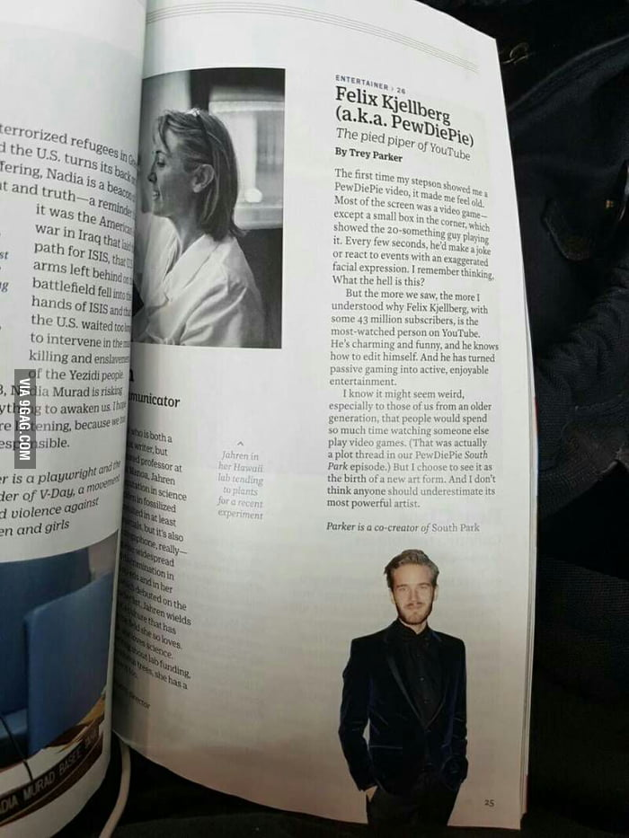 Pewdiepie on TIME's magazine for the 100 most influential