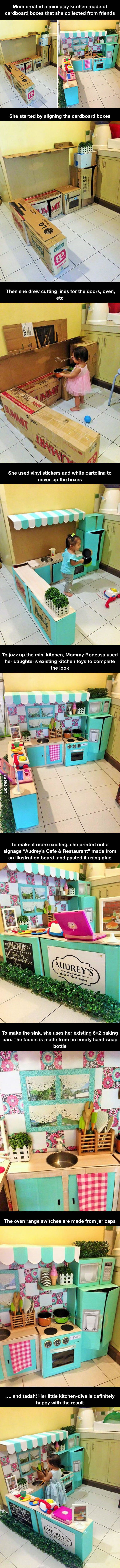 This Mom Created A Mini Play Kitchen Made Of Cardboard Boxes