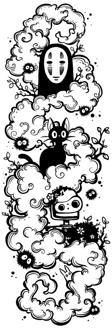 Designing A Ghibli Tattoo First Draft Going Through Revisions