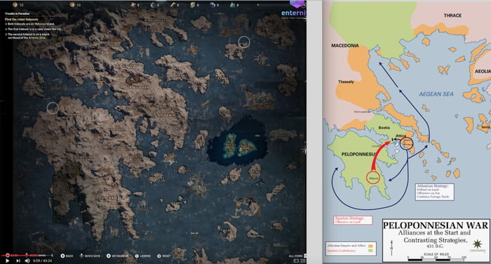 Assassin S Creed Odyssey Map Compared To Real Poleponnesian War