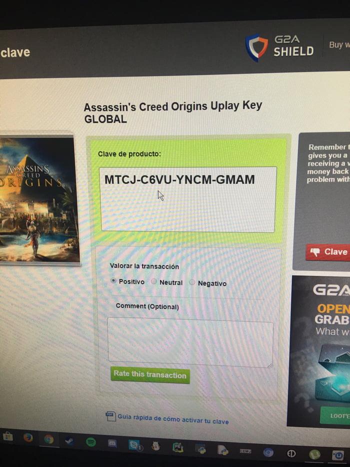 Free AC Origins key since I got al extra one - 9GAG