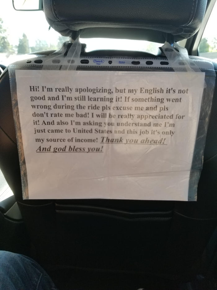 My Uber driver taped this sign to the seat  - 9GAG
