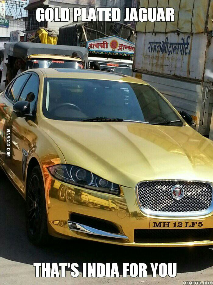 Pure Gold Plated Jaguar Spotted In Pune India 9gag